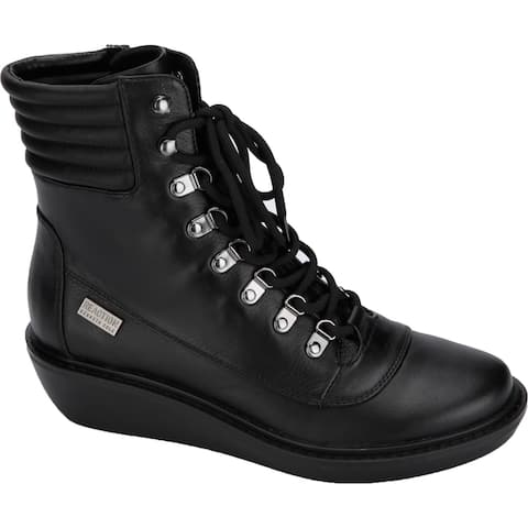 Kenneth Cole Reaction Womens Rhyme Hiker Hiking Boots Leather Lace-Up - Black