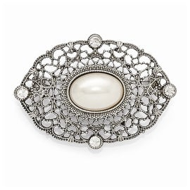 Silvertone Downton Abbey Clear Glass and Simulated Pearl Oval Pin