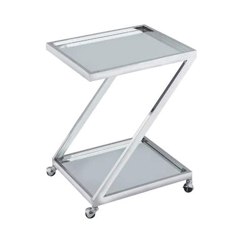 Silver and Clear Glass Zuri Bar Cart - N/A