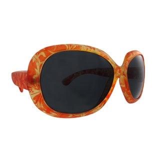 Orange Floral Print Ladies Sunglasses Smoke Lenses