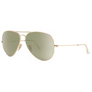 Ray Ban RB3025 001/P1 62mm Gold Polarized Light Green Aviator Sunglasses - 62mm-14mm-140mm