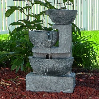 Sunnydaze Old World Cascading Bowls Solar on Demand Fountain 21 Inch Tall