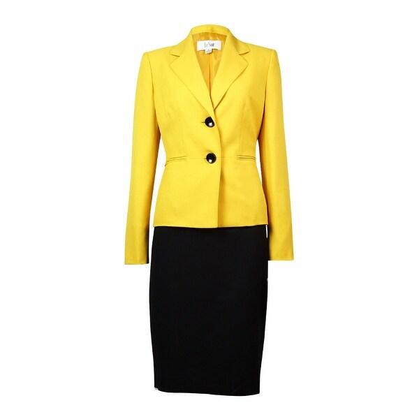 Le Suit Women's St. Germain Pocket Crepe Skirt Suit - golden/black