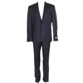 Dkny Mens Blue Slim-Fit Single Breasted Double Button Notched Lapel Suit R - 44r