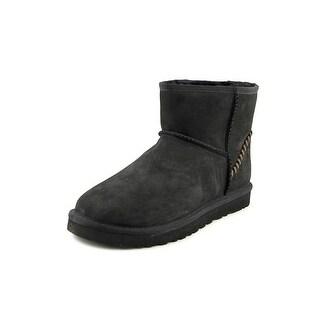 Ugg Australia M Classic Mini Deco Men  Round Toe Leather Black Ankle Boot