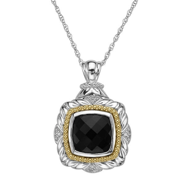 3 1/2 ct Onyx Cushion Pendant with Diamonds in Sterling Silver & 10K Gold