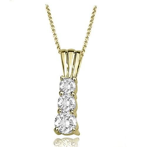0.75 cttw. 14K Yellow Gold Three-Stone Round Cut Diamond Pendant