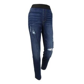 Karen Kane Women's Pull-on Distressed Skinny Jeans (8, Medium Blue) - Medium Blue - 8