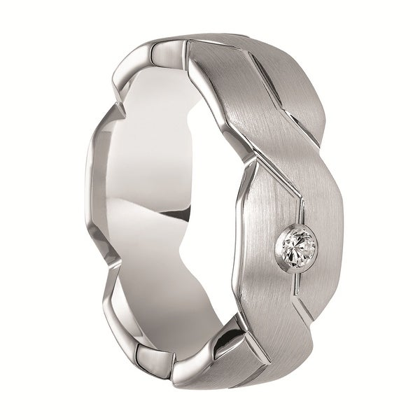 EMERSON White Tungsten Ring with Carved Infinity Symbols & White Diamond Setting by Triton Rings - 8 mm