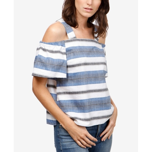 Lucky Brand Womens Large Striped Cold Shoulder Knit Top