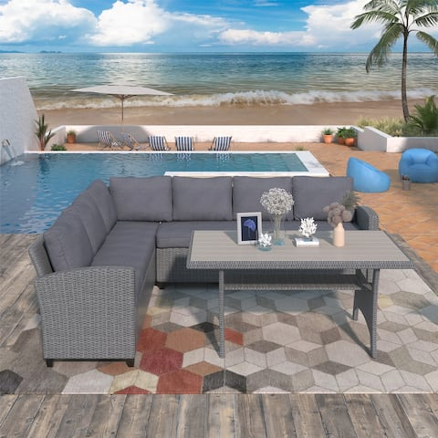 Patio Outdoor Furniture PE Rattan Wicker with Table & Soft Cushions