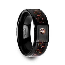 HELSING Black Ceramic Ring with Black and Orange Carbon Fiber and Orange Padparadscha Setting