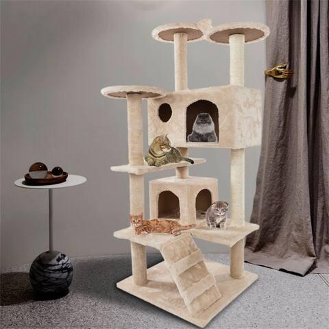 "52"" Solid Cute Sisal Rope Plush Cat Climb Tree Cat Tower Beige,Brown"