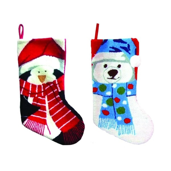 "Pack of 4 North Pole Buddy Plush Penguin and Polar Bear Christmas Stockings 19"" - multi"