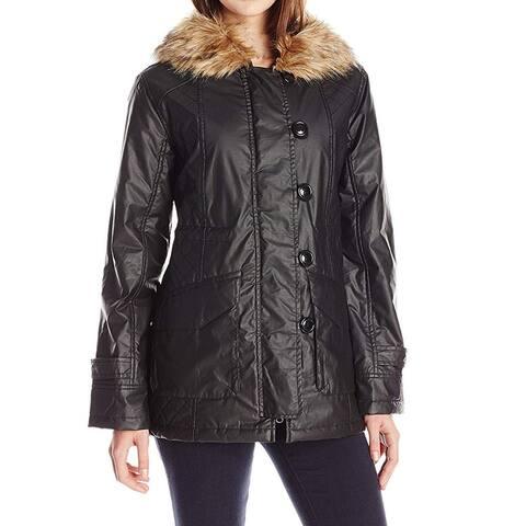 Sanctuary Black Brown Womens Size XS Faux-Fur Parka Hooded Jacket