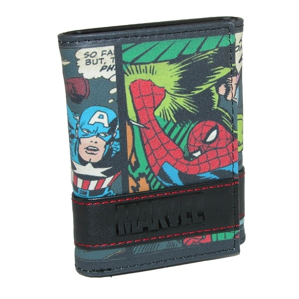 Marvel Men's Multi-Character Comic Stripe Trifold Wallet - One size