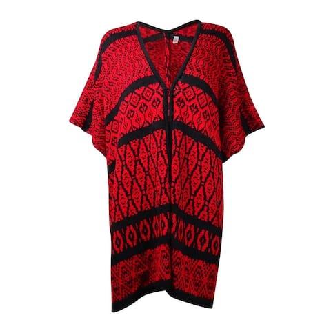 NY Collection Women's Intarsia Knit Poncho Cardigan