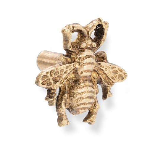 Queen Bee Drawer Knob Pull Antiqued Brass 1.5 Inches