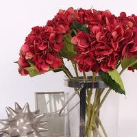"""G Home Collection Luxury Silk Hydrangea Stem in Red 18"""" Tall"""