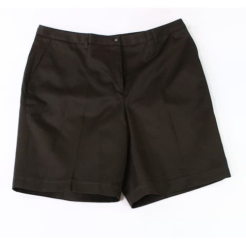 Twin Hill Womens Shorts Dark Brown Size 14 Twill Chino Four Pocket