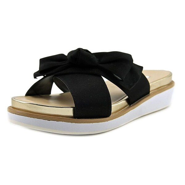 Nina Garda Women Open Toe Canvas Black Slides Sandal