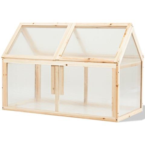 Outdoor Indoor Garden Wooden Cold Frame Greenhouse - Natural