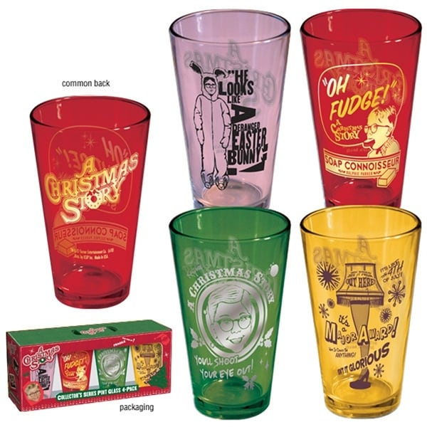A Christmas Story Colored 16oz Pint Glasses 4-Pack - Multi