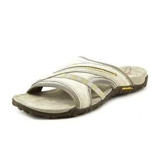 Merrell Terran Post Women Open Toe Leather Gray Slides Sandal