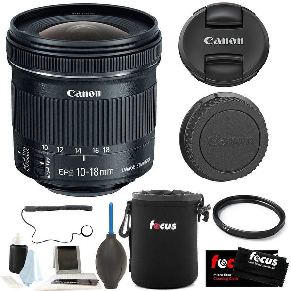 Canon EF-S 10-18mm f/4.5-5.6 IS STM Lens w/ 67mm UV Protector & Accessory Bundle