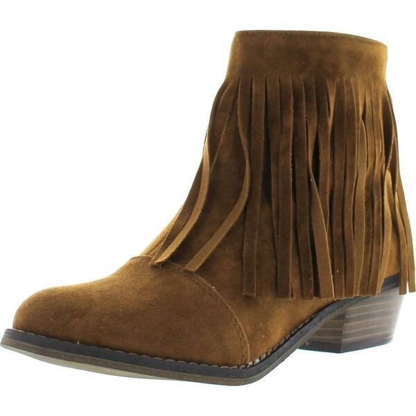 Breckelle's Womens Almond Toe Fringe Tassel Chunky Heel Cowboy Mid Calf Ankle Bootie