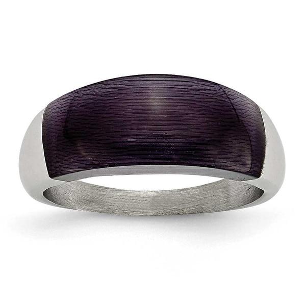 Stainless Steel 8mm Black Cat's Eye Ring
