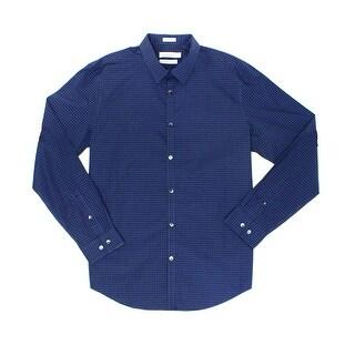 Calvin Klein NEW Blue Navy Mens Size Large L Button Down Plaid Shirt