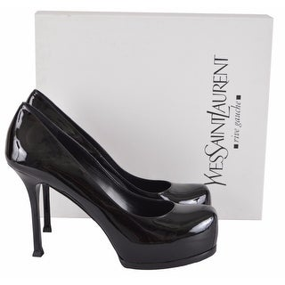 YSL Saint Laurent 209947 Patent Leather Tribtoo 80 Platform Pumps Shoes