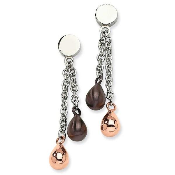 Chisel Stainless Steel Rose Gold & Brown Teardrops Dangle Post Earrings