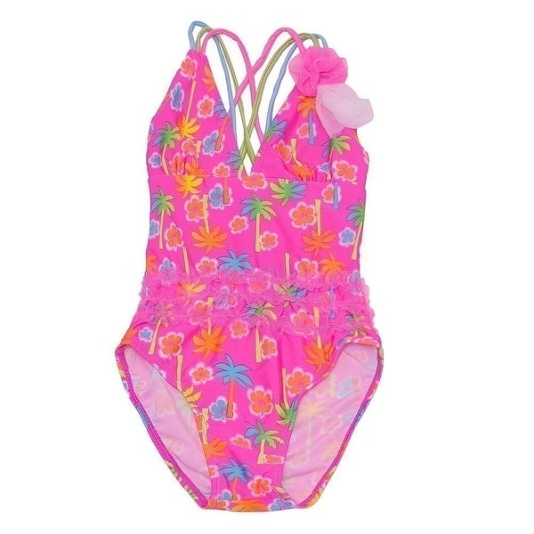 9e02feba63231 Shop Real Love Little Girls Pink Palm Tree Print Flower One Piece Swimsuit  - Free Shipping On Orders Over  45 - Overstock.com - 20606852