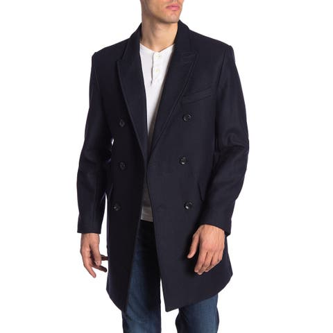 Michael Kors Mens Coats Navy Blue Size 42S Double-Breasted Twill