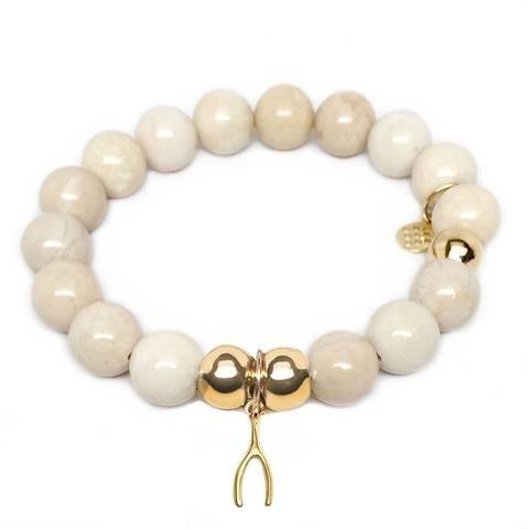 Julieta Jewelry Wishbone Charm Ivory Jade Bracelet