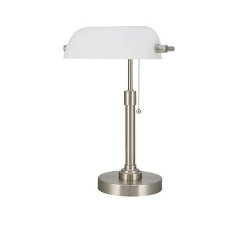Bankers Lamp with Opal Glass Shade