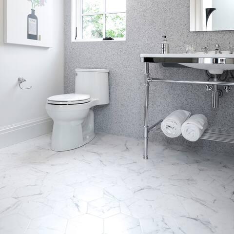 """SomerTile Classico Carrara Hexagon 7"""" x 8"""" Porcelain Floor and Wall Tile"""
