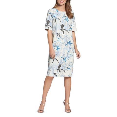 Basler Womens Plus Adventure Time Wear to Work Dress Printed Short Sleeves - Ivory/Blue