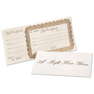 Deluxe Gift Certificate 100 Certificates w/ Ivory Envelopes