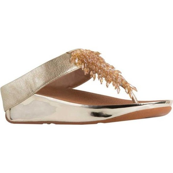3083dcef9 Shop FitFlop Women s Rumba Wedge Thong Sandal Metallic Gold Leather ...