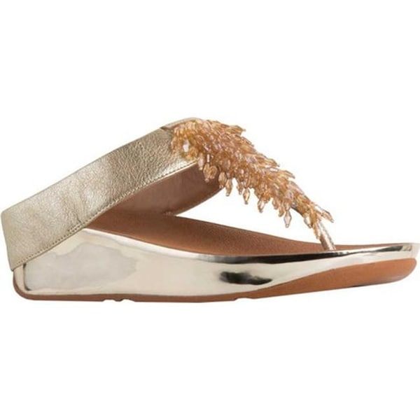 a727dd1907ec Shop FitFlop Women s Rumba Wedge Thong Sandal Metallic Gold Leather ...