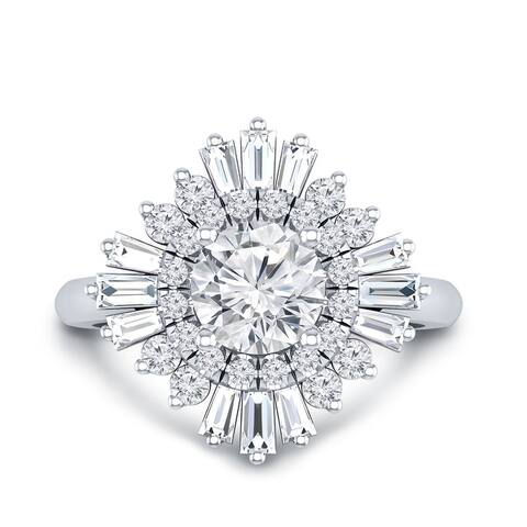 Auriya 14k Gold 3/4ctw Moissanite Ballerina Halo Diamond Engagement Ring 1ct TDW