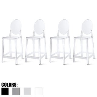 "2xhome Set of 4 25"" Seat Bar Stool Counter Height with Backs Plastic High Chairs Dining Molded Kitchen Transparent"