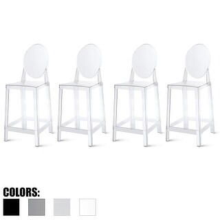 "2xhome Set of 4 Clear Modern 25"" Seat Bar Stool Counter Height With Back Plastic Chairs Home Restaurant Kitchen Transparent"