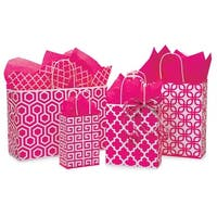 Pack Of 125, Assortment Hot Pink Geo Graphics Recycled Paper Bag 25 Rose, 25 Cub, 25 Carrier, 25 Vogue & 25 Queen