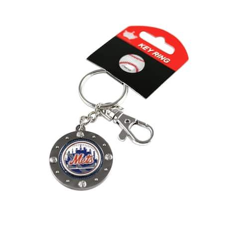 "New York Mets MLB Impact Metal Key Ring Keychain - 1 1/4"" medallion"