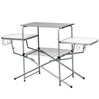 Costway Foldable Camping Table Outdoor Kitchen Portable Grilling Stand Folding BBQ Table - light gray