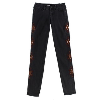 Melrose And Market NEW Black Women Size 23X31 Slim Skinny Embroidered Jeans